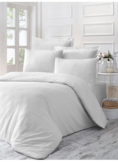 Komfort Home Tek Kişilik Exclusive Deluxe Saten Nevresim Takımı (Ln White) Renkli